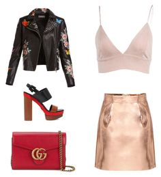 """""""golden skirt"""" by kamilazborovjanova on Polyvore featuring Bagatelle, Michael Kors and Gucci"""