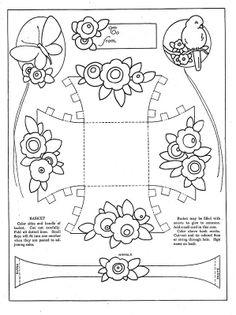 Vintage Crafts, Print and Make Paper Toys Easter Activities, Easter Crafts For Kids, Book Crafts, Paper Crafts, Diy Gift Box, Parchment Craft, Paper Basket, Vintage Crafts, Flower Basket