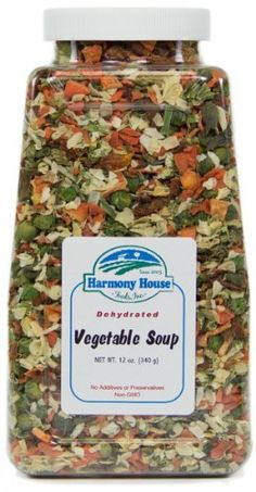 """Harmony House Foods Soup Mix, Dried Vegetable, 12 Ounce Quart Size Jar: Amazon.com: ML: Good idea. With a vacuum sealer we can prepare our own soup, and make """"sachets"""" for a whole week... including in several flavors. We can do long term storage of those sachets too, in case we need to """"go""""!"""