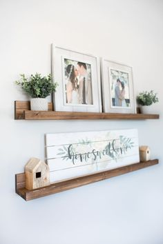 Rustic Wooden Picture Ledge Shelf Ledge Shelf Ledge Shelves Rustic Floating Shelf Wooden Shelf Rustic Home Decor Gallery Wall Gallery - Floating Shelves - Ideas of Floating Shelves Diy Home Decor Rustic, Easy Home Decor, Cheap Home Decor, Wooden Decor, Decor Diy, Tv Decor, Country Decor, Picture Ledge Shelf, Photo Ledge Display