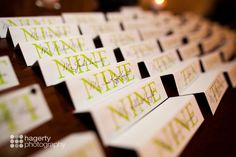 #wedding #table #placecards #numbers #black #lime #green More wedding ideas at www.facebook.com/villasiena