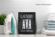 Excited to share the latest addition to my #etsy shop: Laundry a never ending story Chalkboard Printable File - Instant Download - Gift for Mom - Laundry Room Art - Wall Decor - chalkboard look