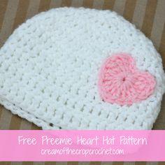 FREE crochet pattern for a Preemie Heart Hat by Cream Of The Crop Crochet.