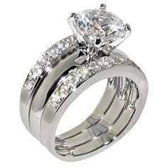 ON SALE AT http://jewelrydealsnow.com/?a=B00CS7TJKK - 3.47 Ct. Round Cubic Zirconia Cz Solitaire Bridal Engagement Wedding 3 Piece Ring Set