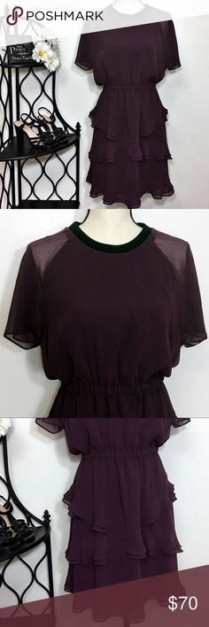 "Madewell Ruffle Tier Lined Short Sleeve Dress New Gorgeous dark plum/purple dress with ruffles! The short sleeves are sheer and the rest of the dress is lined. It has a short zipper in the back and an elastic waist. Bust: 39""; length in the back from the shoulder: 36"". Measurements are approximate. Smoke free home. 🌺Thanks for shopping my closet 😊🌺 Madewell Dresses"