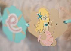 mermaid cake banner, mermaid paper products, mermaid party ideas, mermaid party ideas, mermaid sign, mermaid banner,  mermaid centerpieces