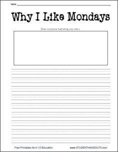 Why I Like Mondays Printable Writing Prompt Worksheet