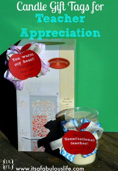 """Free Printable Gift Tags for Teacher Appreciation!  For the candle it says """"You are a 'Scent'-sational teacher!"""" and the candle warmer says """"You warm my heart!"""" ♥♥♥ THIS!!!!"""