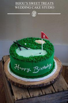 Beautiful buttercream golf theme cake with custom sugar decorations by Bijou's Sweet treats wedding cake studio. 30th Birthday Cakes For Men, Golf Cupcakes, Cupcake Cakes, Sports Themed Cakes, Bithday Cake, Dad Cake, Fathers Day Cake, Retirement Cakes, Dessert Dishes
