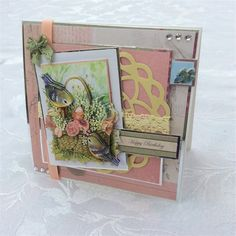Handmade card with a bird theme using Anita's Foiled Decoupage.