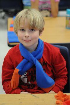 Classroom Christmas Party Craft Idea... make polar fleece kids scarves in school colors - no sew!