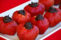 Strawberries filled with dark chocolate cream cheese...only 2 ingredients!