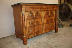French Empire Walnut Wood Commode with Marble Top | From a unique collection of…