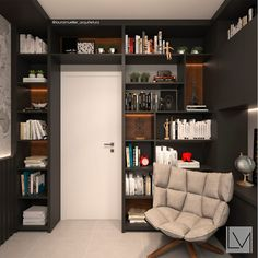 Modern study/office by laura mueller arquitetura + interiores modern wood wood effect in 2020 Home Library Design, Home Room Design, Office Interior Design, Office Interiors, House Design, Small Home Design, Home Study Design, Kitchen Design, Modern Home Offices