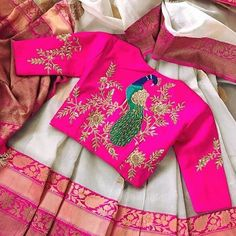 Looking for some creative Blouse Designs to go with your favourite silk saree? Check out these gorgeous blouses and tell me which one of these is your fav? Silk Saree Blouse Designs, Fancy Blouse Designs, Bridal Blouse Designs, Dress Designs, Peacock Blouse Designs, Aari Work Blouse, Vanz, Stylish Blouse Design, Blouse Models