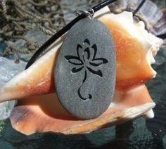 Lotus Flower in bloom - Marthas Vineyard Beach Stone Pendant | castastone - Jewelry on ArtFire