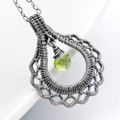 Fine Silver Pendant, Peridot Pendant - Ruffles and Lace. $65.00, via Etsy.