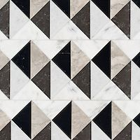Arbus stone mosaic, shown in polished Socorro Grey, Nero Marquina, Carrara, and honed Cavern Floor Texture, Tiles Texture, Marble Texture, Stone Tile Texture, Marble Mosaic, Stone Mosaic, Stone Tiles, Grey Flooring, Stone Flooring