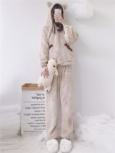993f9f9d28 Women Bear Plush Hooded Pajama Set  hoodies  hoodieseason  bearhoodie  bear   modakawa  kawaiilife  jfashion  ootd  outfit  girl  beauty  pin  followme
