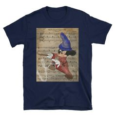 Fantasia Micky Short-Sleeve Unisex T-Shirt This makes for a great staple t-shirt. And the double st Nerdy Shirts, Unisex, Sleeve, Awesome, Mens Tops, T Shirt, Fashion, Fantasy, Manga