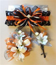 Orange silk prom corsage and matching prom garter.  letsdancegarters.com