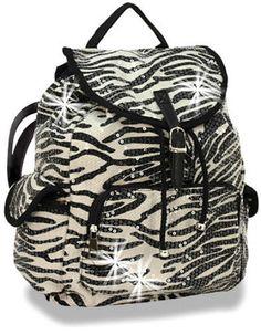 Sequined Zebra Print Large Drawstring Backpack Handbag Purse Bag Back Pack Bling #HANDBAGEXPRESS #BackpackStyle