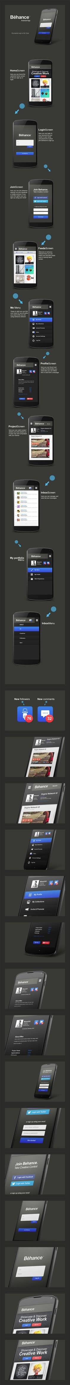 Behance Network android app re-design by Moe slah, via Behance *** Behance Network android app re-design