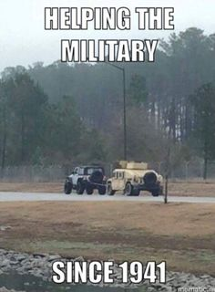 Not Chevy, not Ford.... It's a Jeep thing. Protecting and transporting the military since 1941