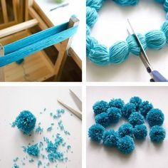 The Easiest Ever Yarn Pom-poms #DIY #Tutorial. Fluffy pom-poms are so cute, and we can make them into almost everything such as blankets, scarves, chandelier, toy animals and more. Here is the easiest way I found for you to make your own pom-poms at home.