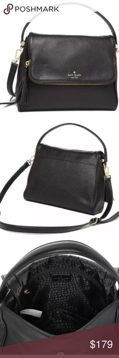 "kate spade Chester Street Miri Crossbody Satchel kate spade  Chester Street Miri Leather Handbag Crossbody Satchel Bag Black  Style# WKRU4076 Brand New with Tags!  Details: pebbled leather, flap top with magnetic snap closure, polished gold-tone hardware, top handle with 4"" drop, detachable and adjustable longer shoulder or crossbody strap with 21"" drop, interior one zip and one open slide pockets, fabric lining, tassel and logo details Approximate measurements: 9.5""top & 11""bottom(L)…"