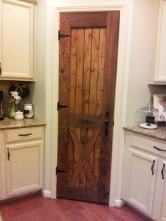 """AOL Image Search result for """"http://www.rootnh.com/wp-content/uploads/2013/11/14/interior-kitchen-traditional-unfinished-single-wooden-rustic-pantry-door-with-white-kitchen-cabinetry-set-grey-marble-countertops-in-small-white-kitchen-decor-ideas-lovely-pantry-door-assorted-design.jpg"""""""