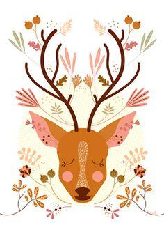 Deer / Cerf / Ciervo   Mundobu: Ilustraciones
