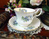 Shelley Ovington Tea Cup Wide Mouthed Footed  Bone China Teacup and Saucer 8684. $55.95, via Etsy.