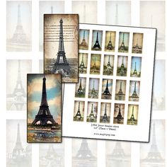 Eiffel Tower Altered Art domino digital collage sheet 1x2 25mm x 50mm Paris France via Etsy