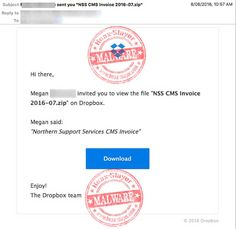 """""""NSS CMS Invoice"""" Dropbox Invite Malware Email"""