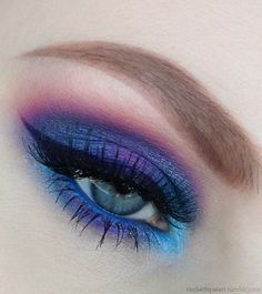 Vibrant Cotton Candy Makeup Purple, Blue, and Pink Eyeshadows