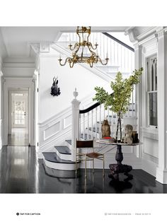 Dreamy Staircase. Georgian-style home. White walls. Dark wood flooring. Jul/Aug 2015 issue of @ELLEDECOR. http://bit.ly/1pTydyx