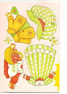 Vintage Strawberry Shortcake Paperdolls Birthday Card (Pg 2)