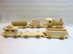 Wooden Toy Train Set  Kids Handmade Wooden Toy  Natural Gift