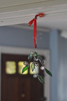 Mistletoe Sprig holiday ornament stained glass by ABJglassworks