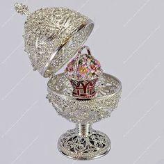 "5.4"" Silver Filigree Egg Trinket Box St-petersburg Russian Faberge"