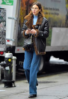 To rack your cool points right up to a million, take the following tips from Alexa Chung: shearling jackets will improve any look, you should buy those aviator style glasses you've been eyeing up, and wide-leg denim is seriously hot for this season