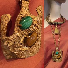Molten, Brutalist Emblem with Malachite and Tiger's Eye Cabochons. Brutalist, Malachite, Art Decor, Jewelry Design