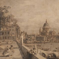 Canaletto, View from Somerset Gardens looking towards London Bridge, (detail)