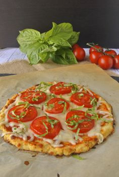 Cauliflower crust tomato basil pizza #pizza