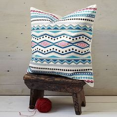 Embroidered Mar Pillow Cover