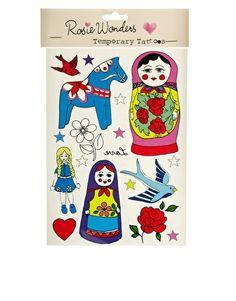 Rosie Wonders Russian Doll Temporary Tattoo