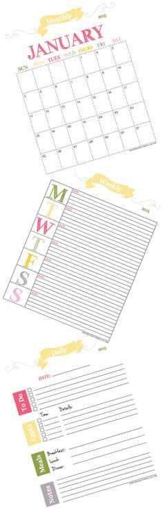 If getting organized is one of your goals in 2015, you've come to the right place! Not only are we sharing our favorite organizing tips…we have daily, weekly and monthly calendars FREE for the printing!