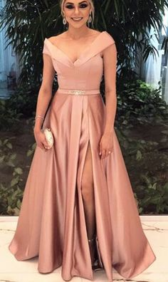 Charming Evening Dress,Sexy Evening Dresses,High Slit Long Prom