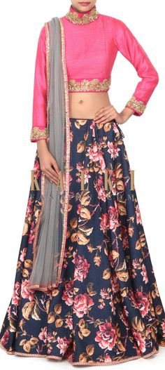 Buy this Navy blue lehenga adorn in floral print only on Kalki